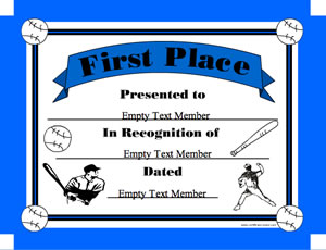 Baseball 1st place certificate creator create and print awards baseball 1st place yelopaper Images