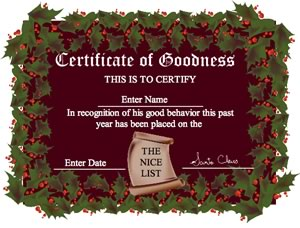 christmas certificates