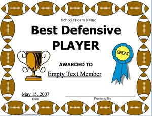 best defensive player football certificate creator create and