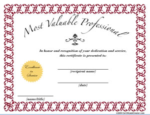 most valuable professional certificate creator create and print
