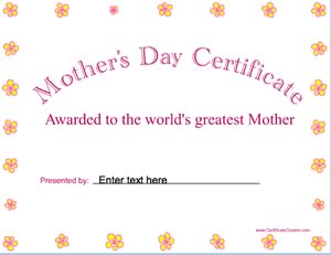mothers day certificates certificate creator create and print