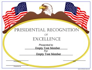 presidential certificate presidential recognition of excellence